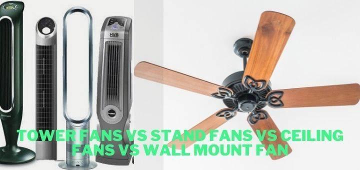 Tower Fans Vs Stand Fans Vs Ceiling Fans vs Wall Mount Fan